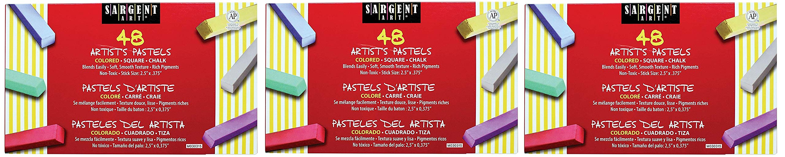 Sargent Art 22-4148 Colored Square Chalk Pastels (3 X Pack of 48)