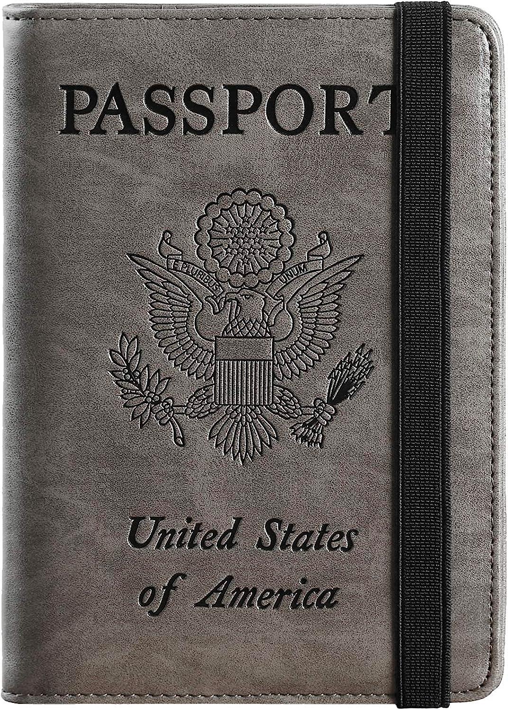 | Passport Holder Cover Wallet RFID Blocking Leather Card Case Travel Document Organizer (Coffee Grey) | Passport Covers