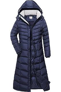 7fe46b51e53dd Amazon.com  ELORA Women s Maxi Puffer Full Length Coat with Fur Trim ...