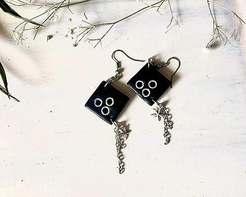 Minimalist Earrings for Her Handmade Clay Stud Earrings for Women Black Square Post Earrings Simple Polymer Clay