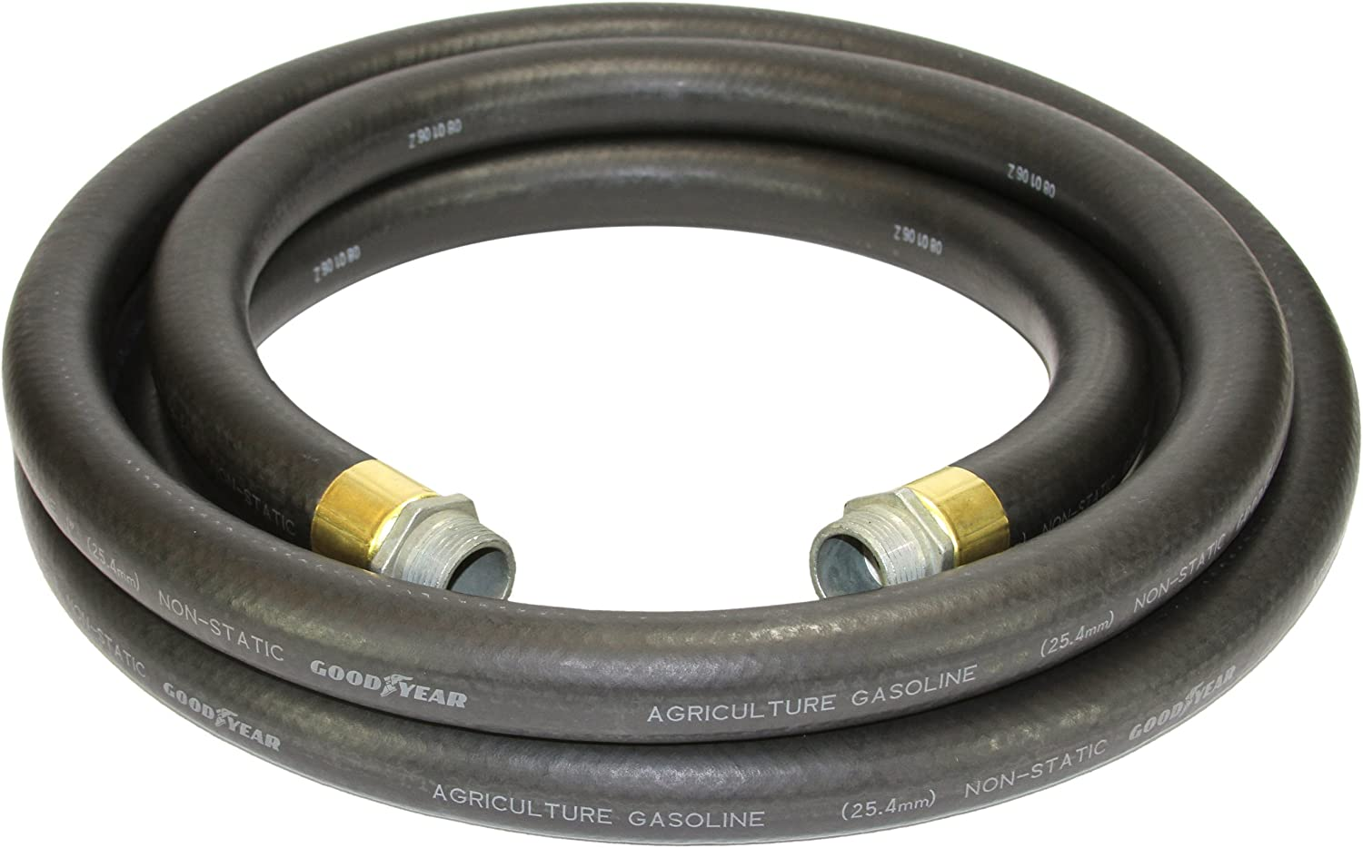 Goodyear 1729-0750-10 Farm Fuel3/4-Inch by 10-Feet Transfer Hose with Threaded Male Couplings on Both Ends, Black