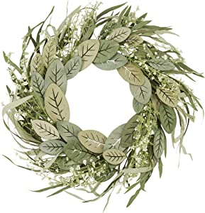 Artificial Greenery Wreath 18 inch Spring Door Wreath with Green Grass and Wood Leaves for Front Door Wall Window Decor Home Decorations for Wedding and Holiday