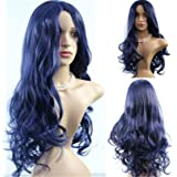 Cool2dayMulti Color Dark Blue Synthetic Wig Cosplay For Costume Party Long Curly Wig Lolita With No Bangs For Black Women Peruca