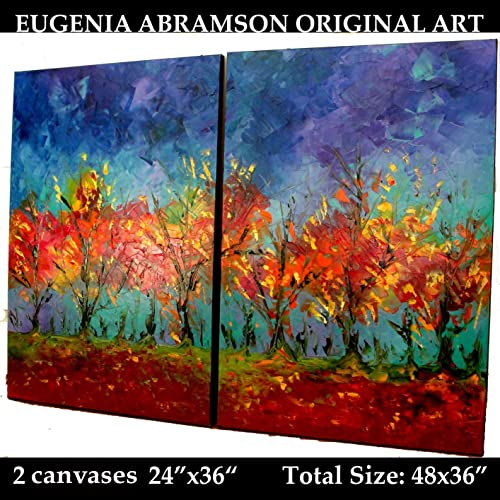 Amazon Com Autumn Landscale Art Large Fall Abstract