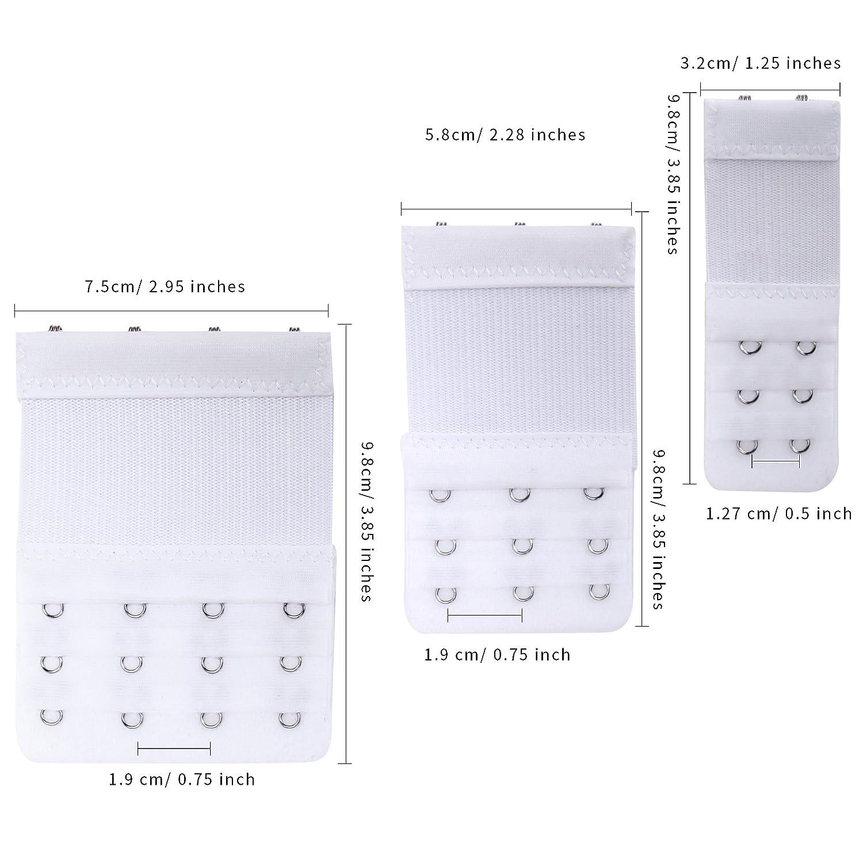 Senkary 12 Pcs Bra Extenders 4 Hooks//3 Hooks//2 Hooks Bra Hook Extenders Elastic Bra Strap Extension 4 Colors