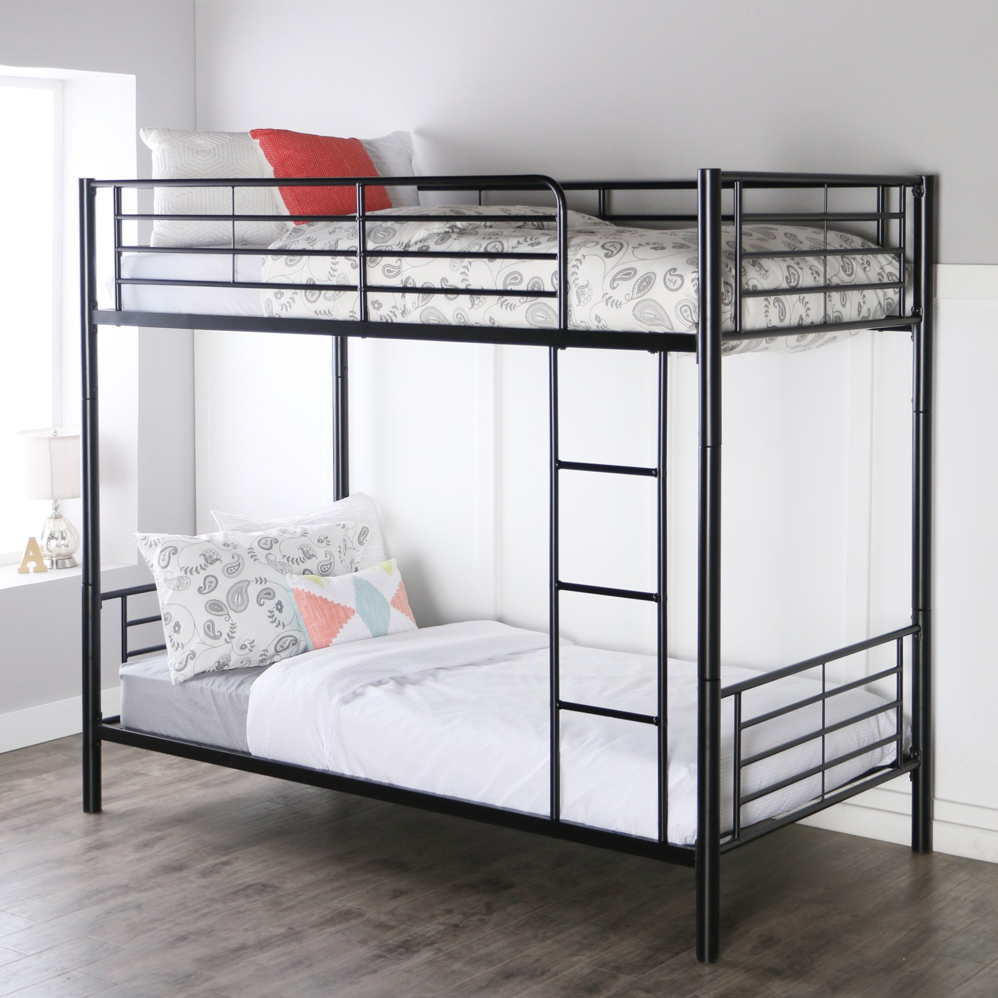 Sturdy Metal Twin-over-Twin Bunk Bed in Black Finish by Home Accent Furnishings (Image #2)