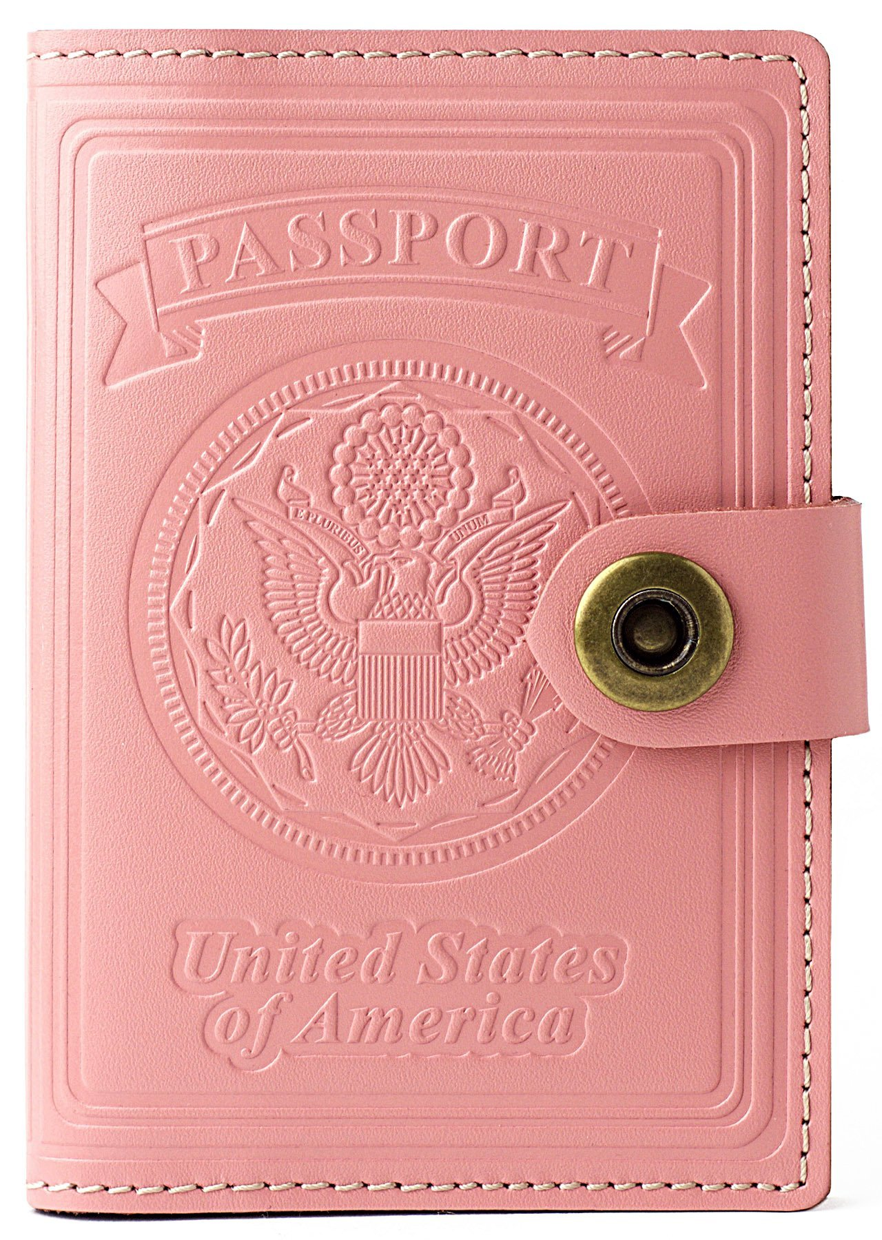 Villini - Leather RFID Blocking US Passport Holder Cover ID Card Wallet - Travel Case (Pale Pink)