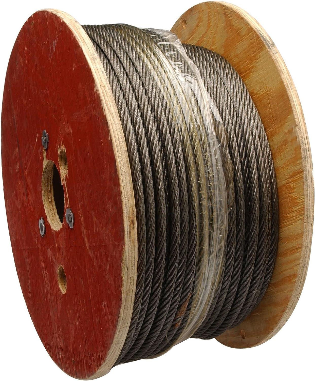"B00092PC8O Steel Wire Rope on Reel, 6x19 Class Fiber Core, 1/2"" Bare OD, 250' Length, 4280 lbs Breaking Strength 81-17m03TML.SL1500_"