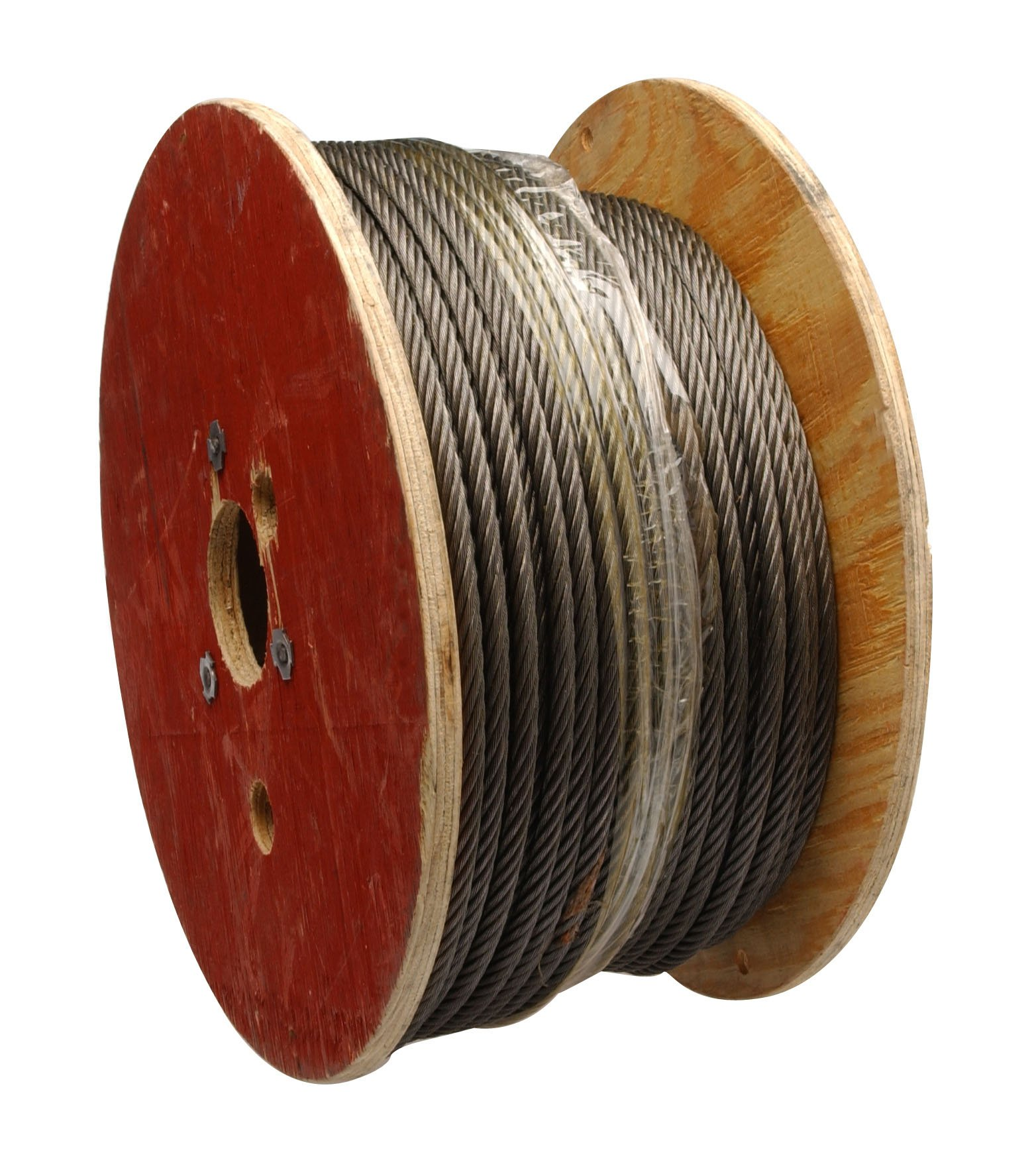 Steel Wire Rope on Reel, 6x19 Class Fiber Core, 3/8'' Bare OD, 250' Length, 2400 lbs Breaking Strength