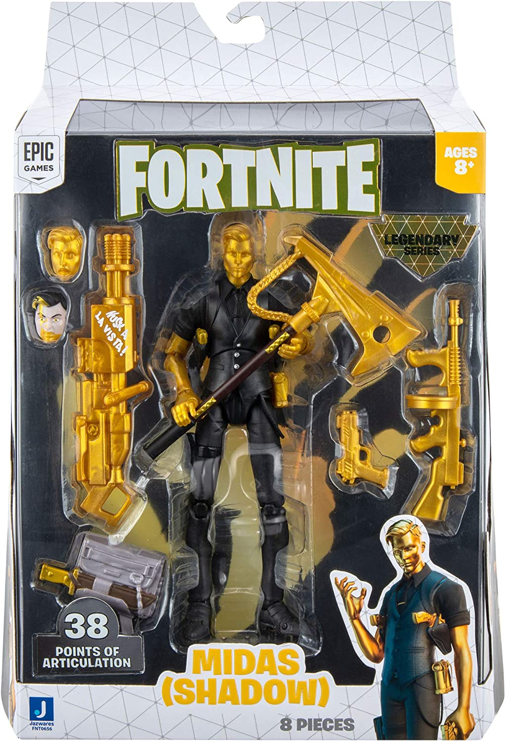 Fortnite Legendary Series Action Figures Amazon Com Fortnite Legendary Series Midas 6 Inch Highly Detailed Figure With Harvesting Tool Weapons Back Bling And Interchangeable Faces Other Styles Include Midas Dark Voyager And More Toys Games