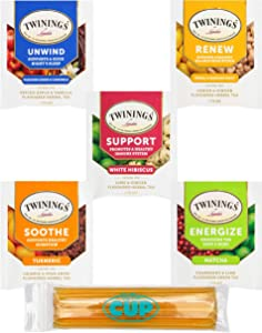 Twinings Wellness Hot Tea Variety Pack 30 Count, 5 Flavors with By The Cup Honey Sticks
