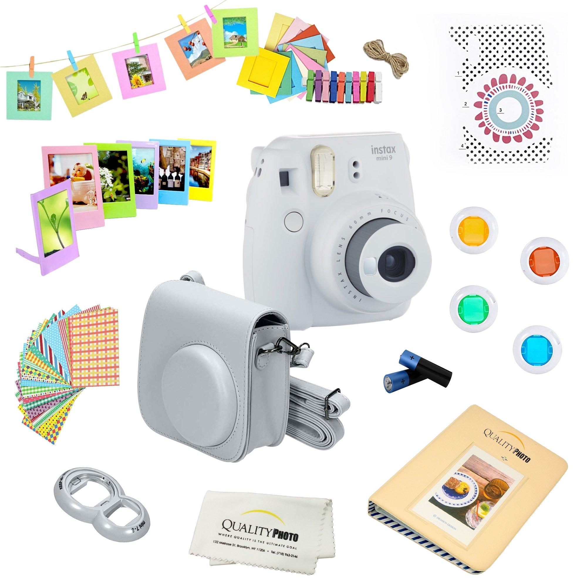 Fujifilm Instax Mini 9 Camera + 14 PC Instax Accessories kit Bundle, Includes; Instax Case + Album + Frames & Stickers + Lens Filters + MORE (Smokey White) by Fujifilm