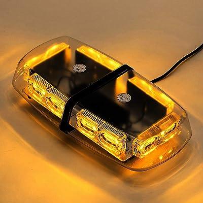 LED Amber Yellow Strobe Light, Emergency Light for Vehicles,Beacon Light for Trucks Emergency Hazard Warning, 36 Watts, 12V/24V, LED Mini Bar Flashing Light with Strong Magnetic Base (16-Modes): Home Improvement