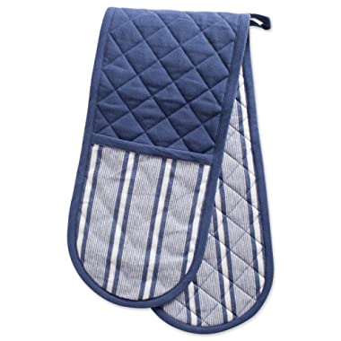 DII Cotton Stripe Quilted Double Oven Mitt, 35 x 7.5 , Machine Washable and Heat Resistant Kitchen Moppine for Everyday Cooking and Baking-French Blue