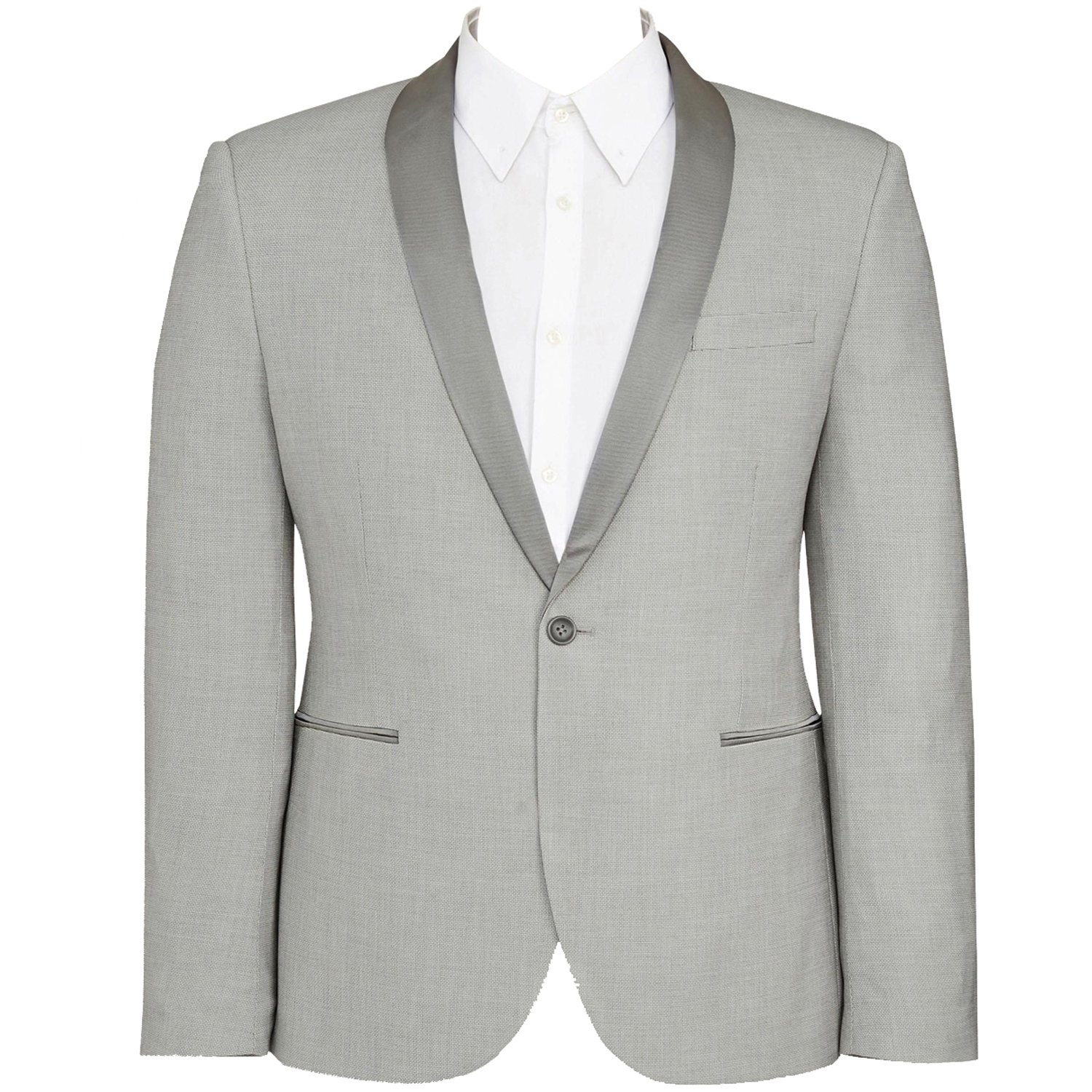 HBDesign Mens 1 Piece 1 Button Shawl Lapel Slim Fit Suit Formal Light Grey HM552LGJ