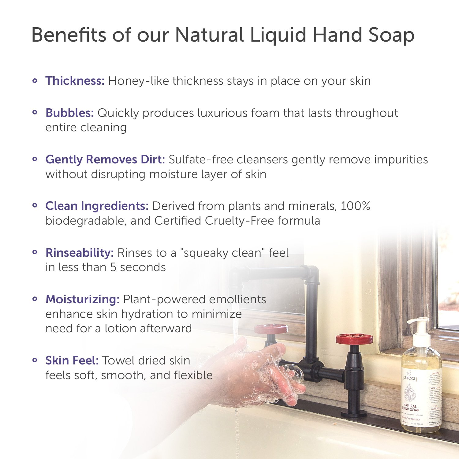 Puracy Natural Liquid Hand Soap Refill, Sulfate-Free Gel Hand Wash, Lavender & Vanilla, 64 Ounce by Puracy (Image #4)