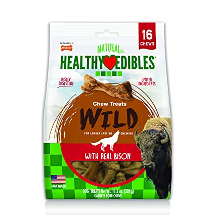 210c5fe5 Nylabone Healthy Edibles Wild Bison Dog Treats | All Natural Grain Free Dog Treats  Made In