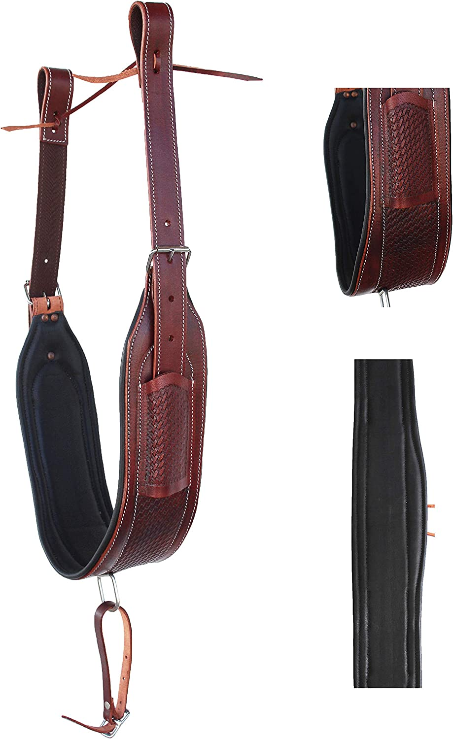 Horse Western Floral Tooled Leather Rear Flank Saddle Cinch w// Billets 9772TI