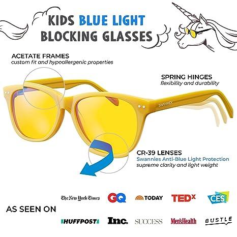 fc3483614c Amazon.com  Blue Light Blocking Glasses for Kids – Swannies Gamer and  Computer Eyewear for Children - Deep Sleep - Digital Eye Strain Prevention  - FDA ...