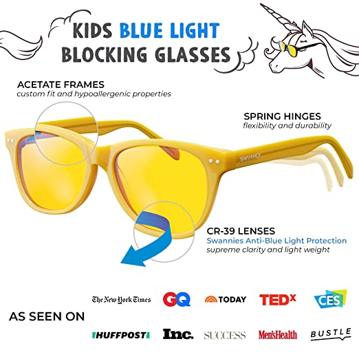 fc3483614c Amazon.com  Blue Light Blocking Glasses for Kids – Swannies Gamer and  Computer Eyewear for Children - Deep Sleep - Digital Eye Strain Prevention  - FDA ...