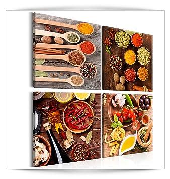 decomonkey Bilder Küche Gewürze 40x40 cm 4 Teilig Leinwandbilder Bild auf  Leinwand Vlies Wandbild Kunstdruck Wanddeko Wand Wohnzimmer Wanddekoration  ...