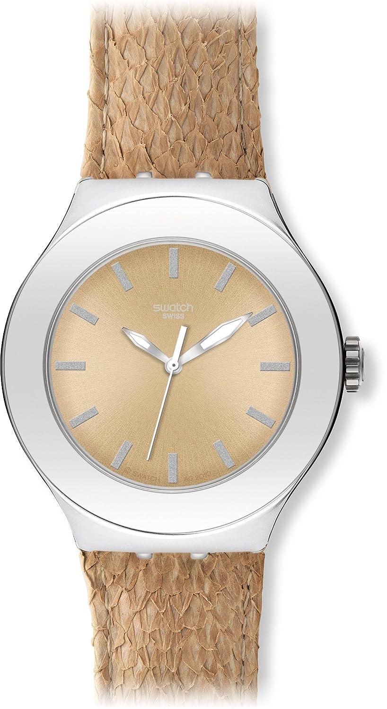 Swatch Damen-Armbanduhr Salmon Gold YNS121