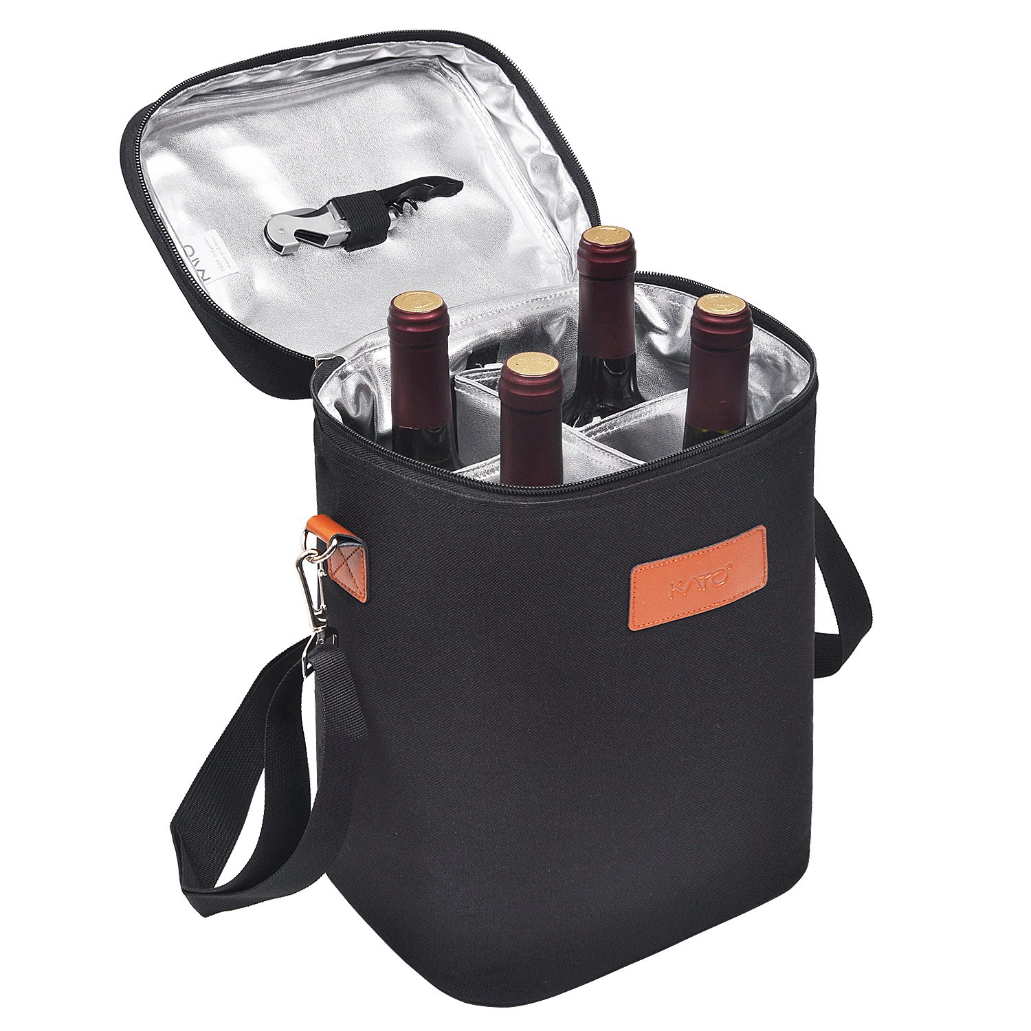 Kato Insulated Wine Carrier Bag - 4 Bottle Travel Padded Wine Carrying CoolerTote with Handle and Shoulder Strap, Great Wine Lover Gift, Black by Kato (Image #8)