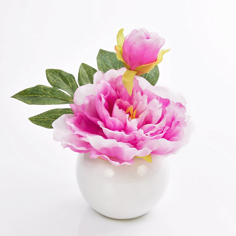 Pivoine artificielle ANISA dans un pot en céramique, rose, 20 cm, Ø 17 cm - Composition artificielle / Fausse pivoine - artplants Ø 17 cm - Composition artificielle / Fausse pivoine - artplants