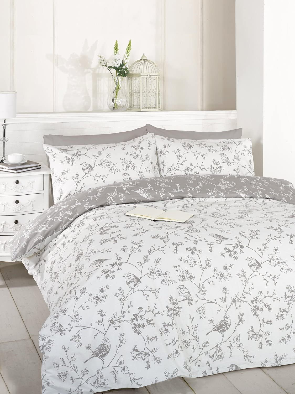 Rapport Bird Toile Taupe Grey Reversible Duvet Cover Bedding Single Double King