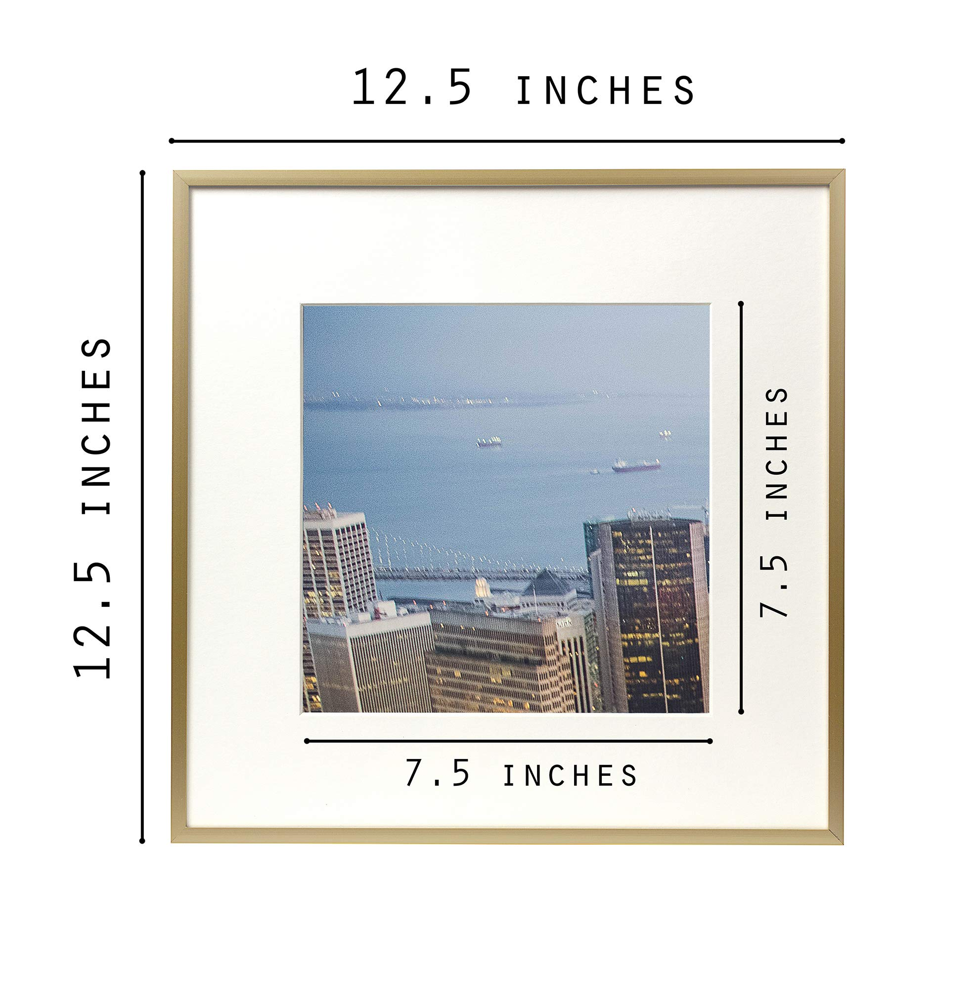 Frametory, Set of 12, 12x12 Gold Aluminum Frame - Includes Ivory Mat for 8x8 Picture - Gallery Wall Display - Sawtooth Hanger, Swivel Tabs - Collage Set for Weddings, Decorations, Art by Frametory (Image #4)