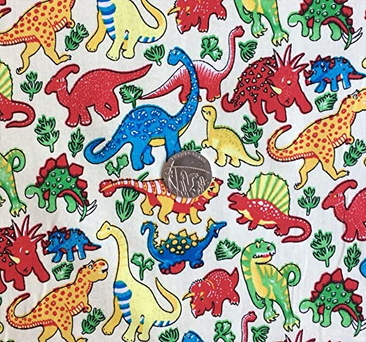 Dinosaurios en blanco roto de los niños infantil 100% tela de ...