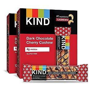 KIND Bars, Dark Chocolate Cherry Cashew + Antioxidants, Gluten Free, 1.4 Ounce Bars, 24 Count