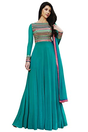 9f80685043b IMPERIALDEAL Sky Blue Color Embroidered Banglori Silk Fancy Designer Dress  (semi Stitched)  Amazon.in  Clothing   Accessories
