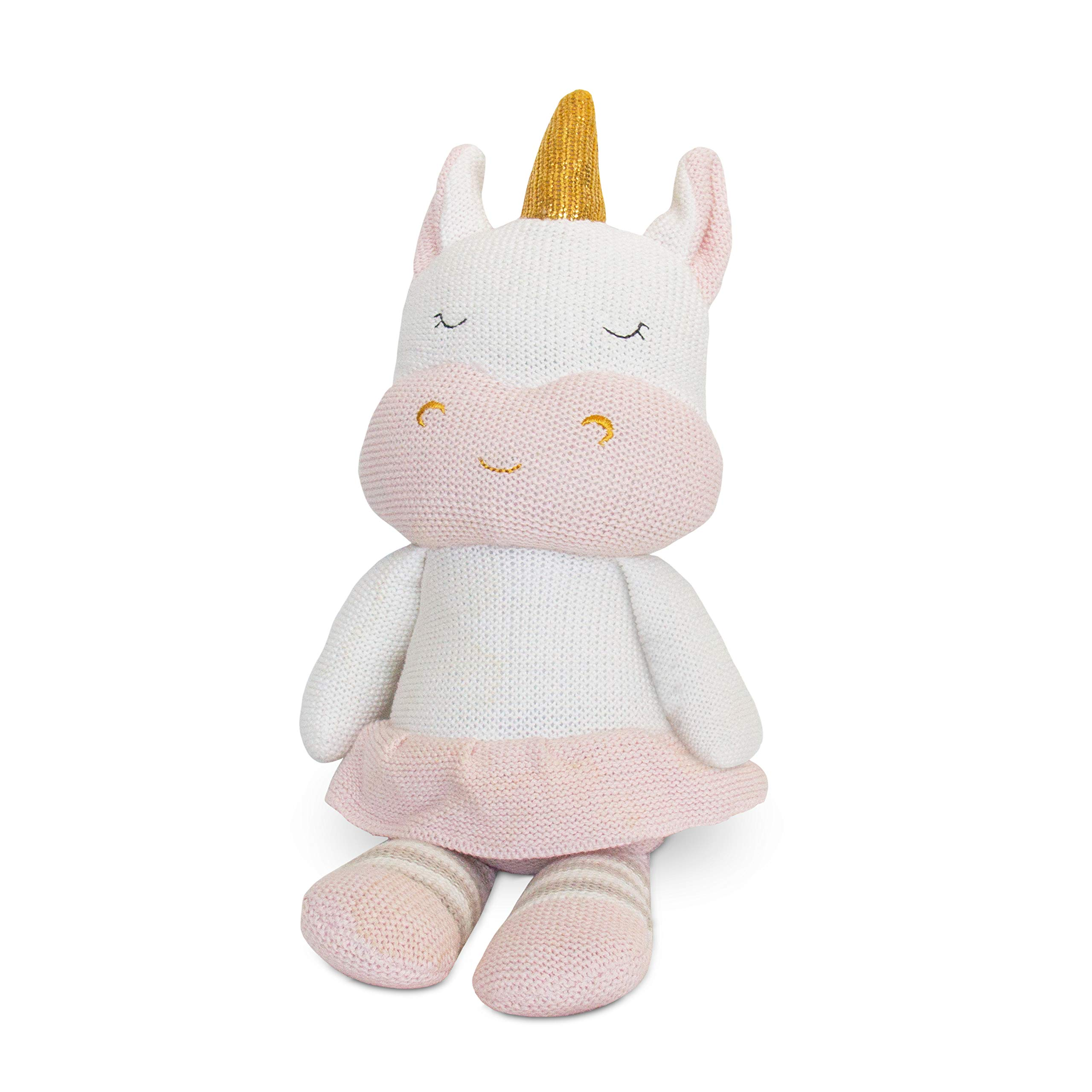 Living Textiles Plush Toy (Kenzie Unicorn). Knitted Stuffed Animal Toy with Rattle. by Living Textiles