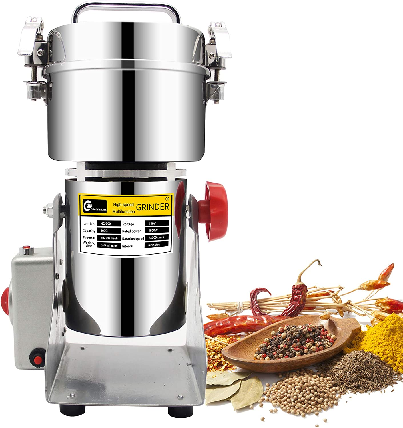 CGOLDENWALL 300g Stainless Steel Electric High-Speed Grain Grinder Mill Family Medicial Powder Machine Commercial Cereals Grain Mill Herb Grinder Pulverizer 110V Gift for Mom Wife