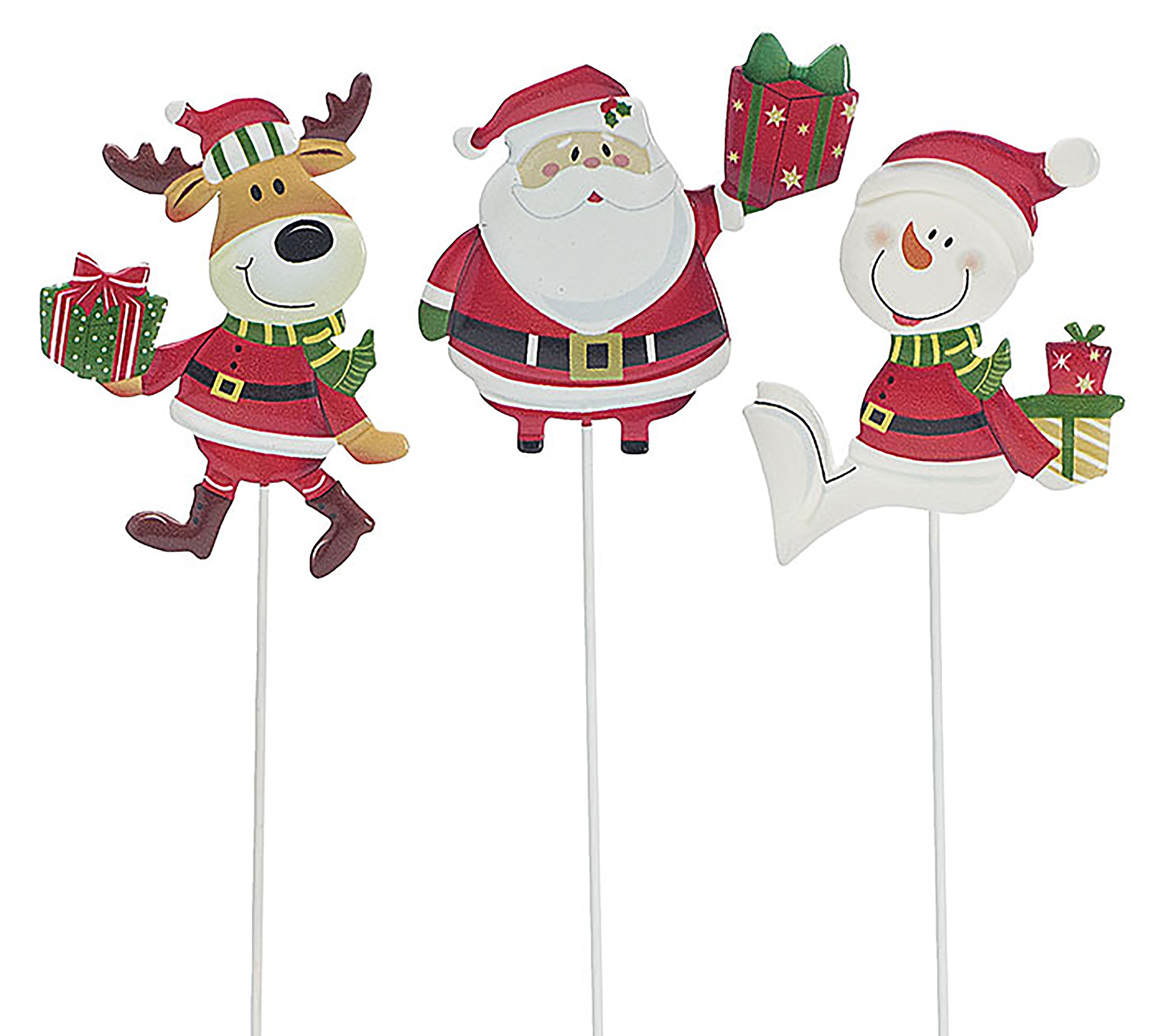Hand-Painted, Embossed tin Santa, Snowman, and Reindeer Christmas Pick Assortment.
