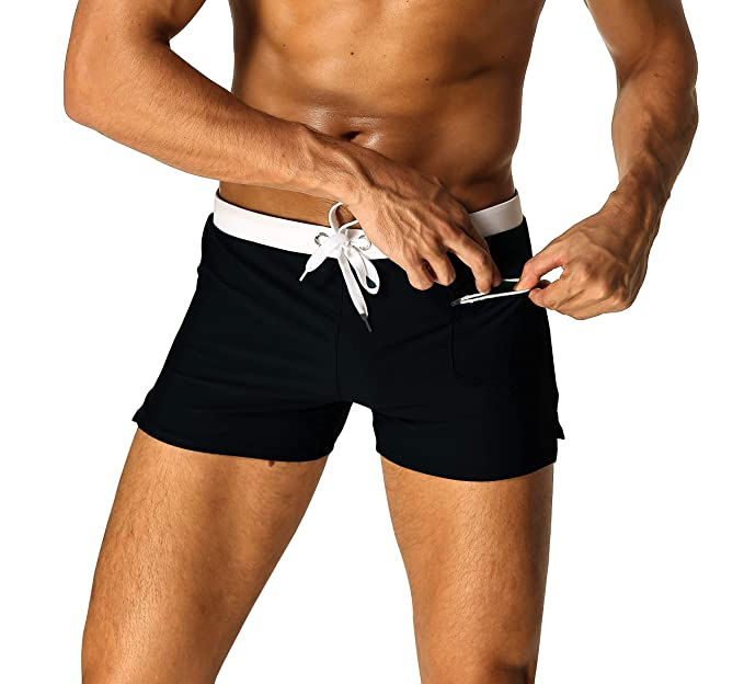836cff00b3 Mens Swim Briefs with Zipper Pockets Square Leg Swimwear Trunks Boxer Short  Black