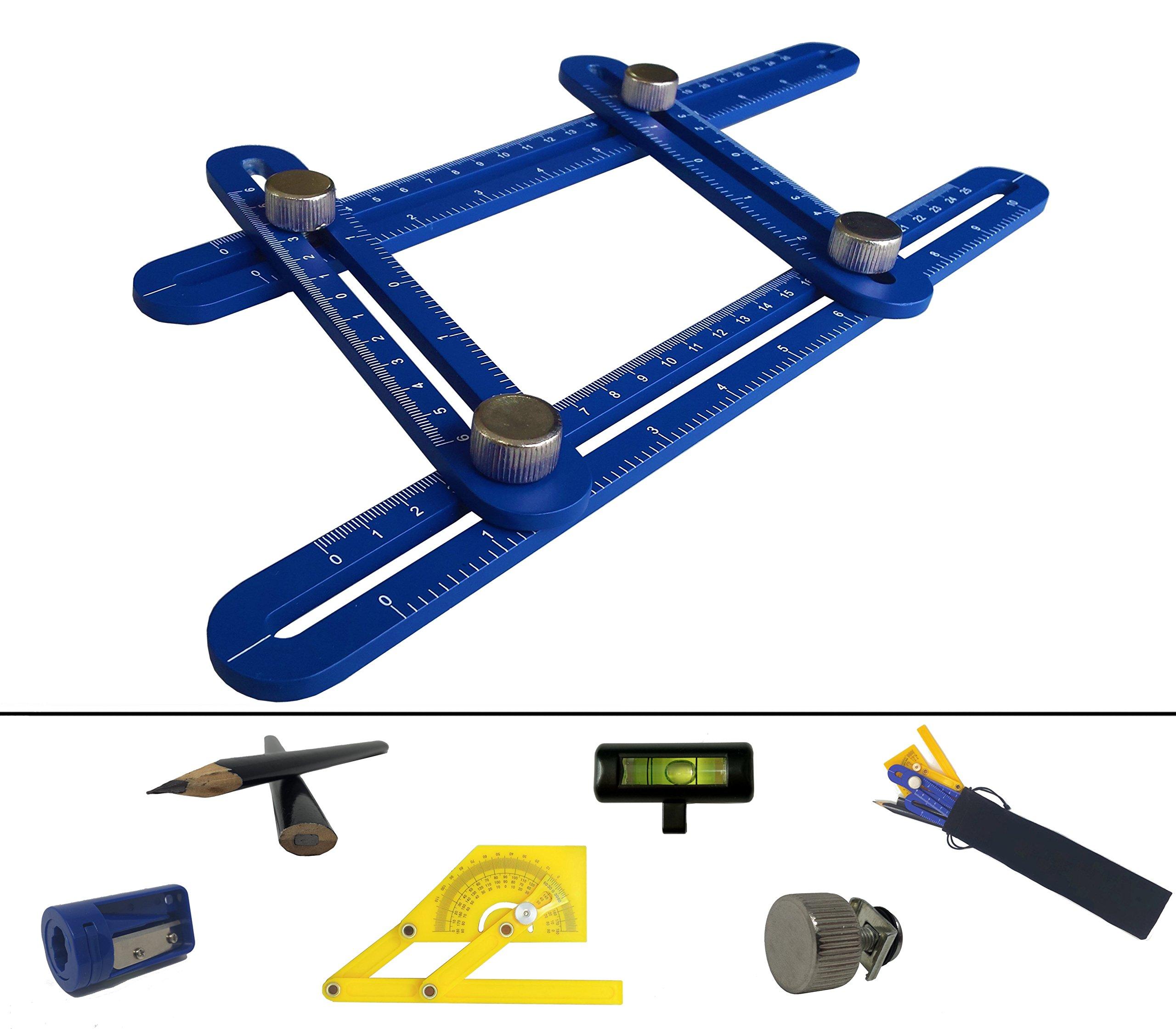 Universal Angularizer Template Tool | Adjustable Aluminum Alloy Multi Angle Measuring Ruler | Professional Any Angle Multi Function Ruler Set