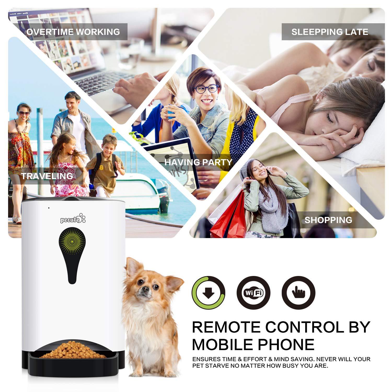 Pecute Alimentatore Automatico Intelligente da 4,5L Supporta WiFi Controllo Remoto da App Supporta Registrazione