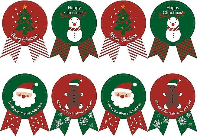 Adesivi Buon Natale.Kingsley 160 Pz Baking Imballaggi Cravatta Tenuta Natale Adesivi Apposti Buon Natale Present Etichetta Festa Stickers Buon Natale 20 Fogli Amazon It Casa E Cucina