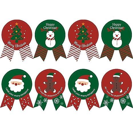 Adesivi Buon Natale.Kingsley 160 Pz Baking Imballaggi Cravatta Tenuta Natale Adesivi Apposti Buon Natale Present Etichetta Festa Stickers Buon Natale 20 Fogli