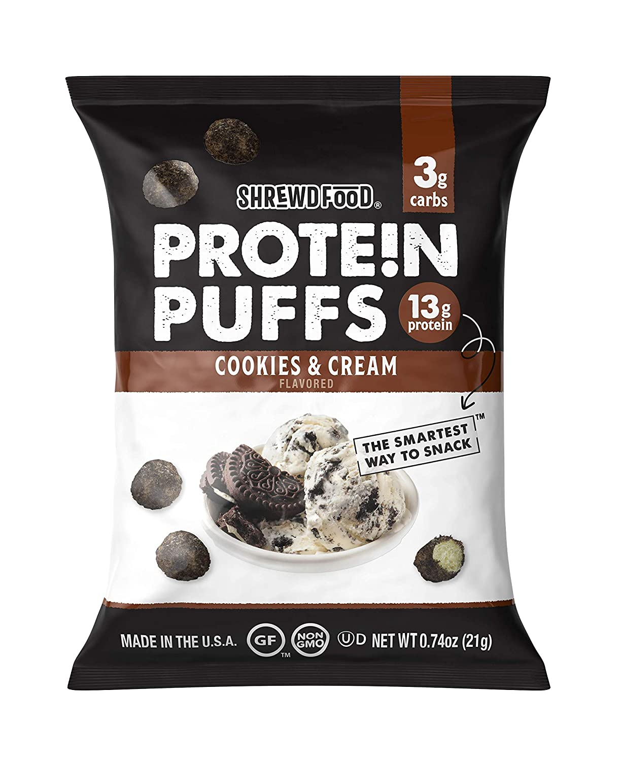 Shrewd Food Protein Puffs, Low Carb Cereal Snack, High Protein Crunch, Sweet And Crispy Protein Snack, 14g Protein / Pack, 3g Carbs, Soy Free, Peanut Free, Gluten Free, Cookies And Cream - 8 Pack