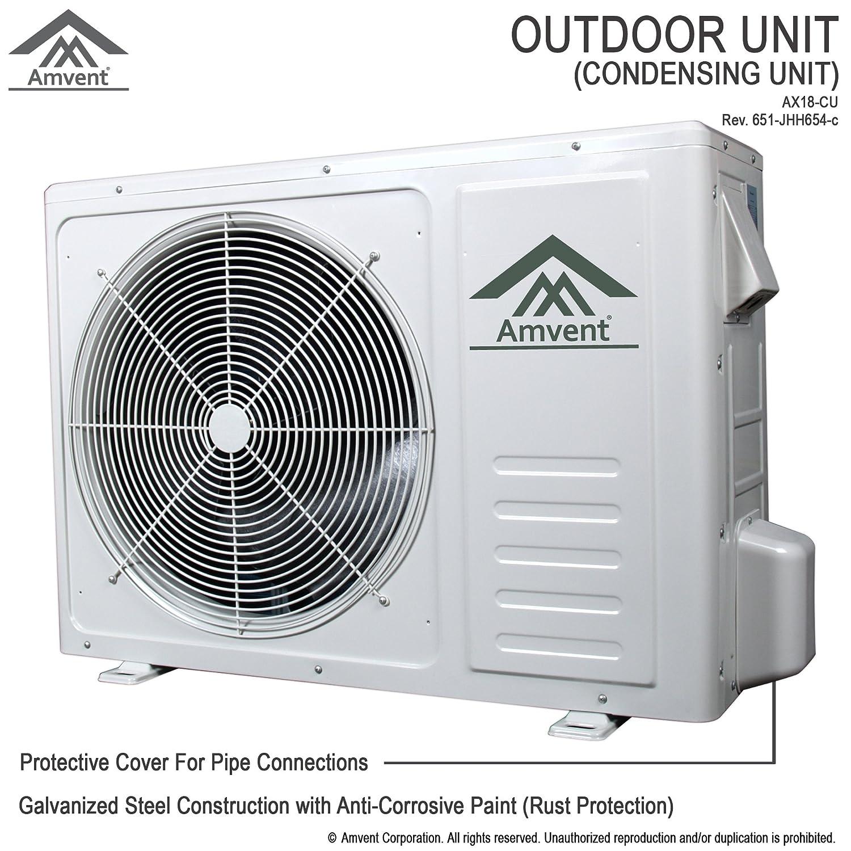 Amvent 18000 Btu Mini Split Air Conditioner With Heat Outside A C Condenser Unit Wiring Diagram Pump Home Kitchen