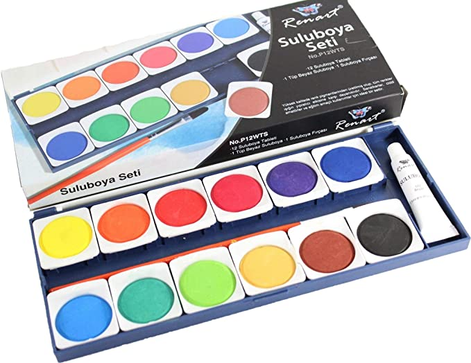 Générique Kit de Pintura a el agua niño acuarela Set de 12 pastillas tabletas cangilones colores tubo blanco pincel paleta: Amazon.es: Hogar