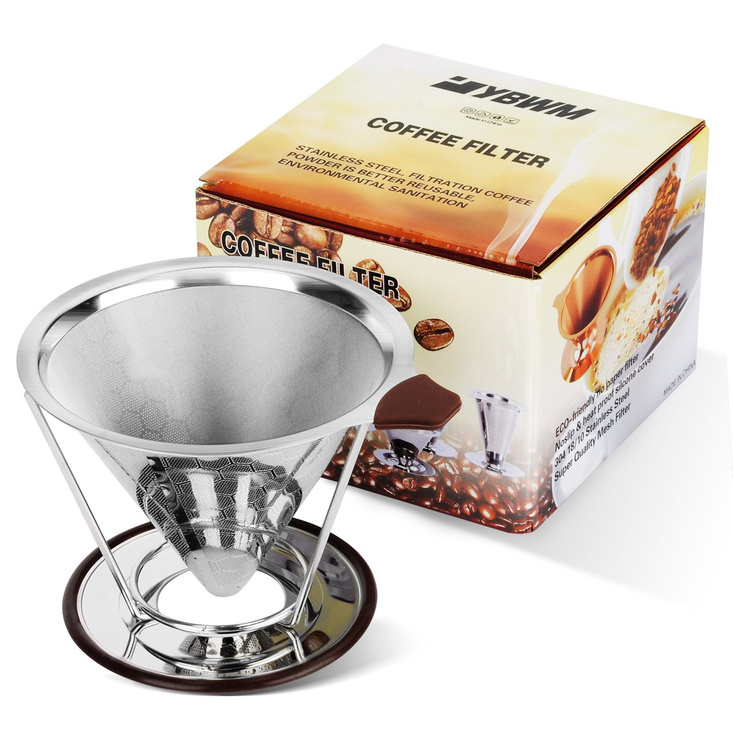 Coffee Filter Stainless Steel YBWM Pour Over Double Metal Mesh Coffee Dripper Cone with Seperate Stand by FDA Certified Food Grade Portable&Paperless Permanent Coffee Maker for 1-4cups
