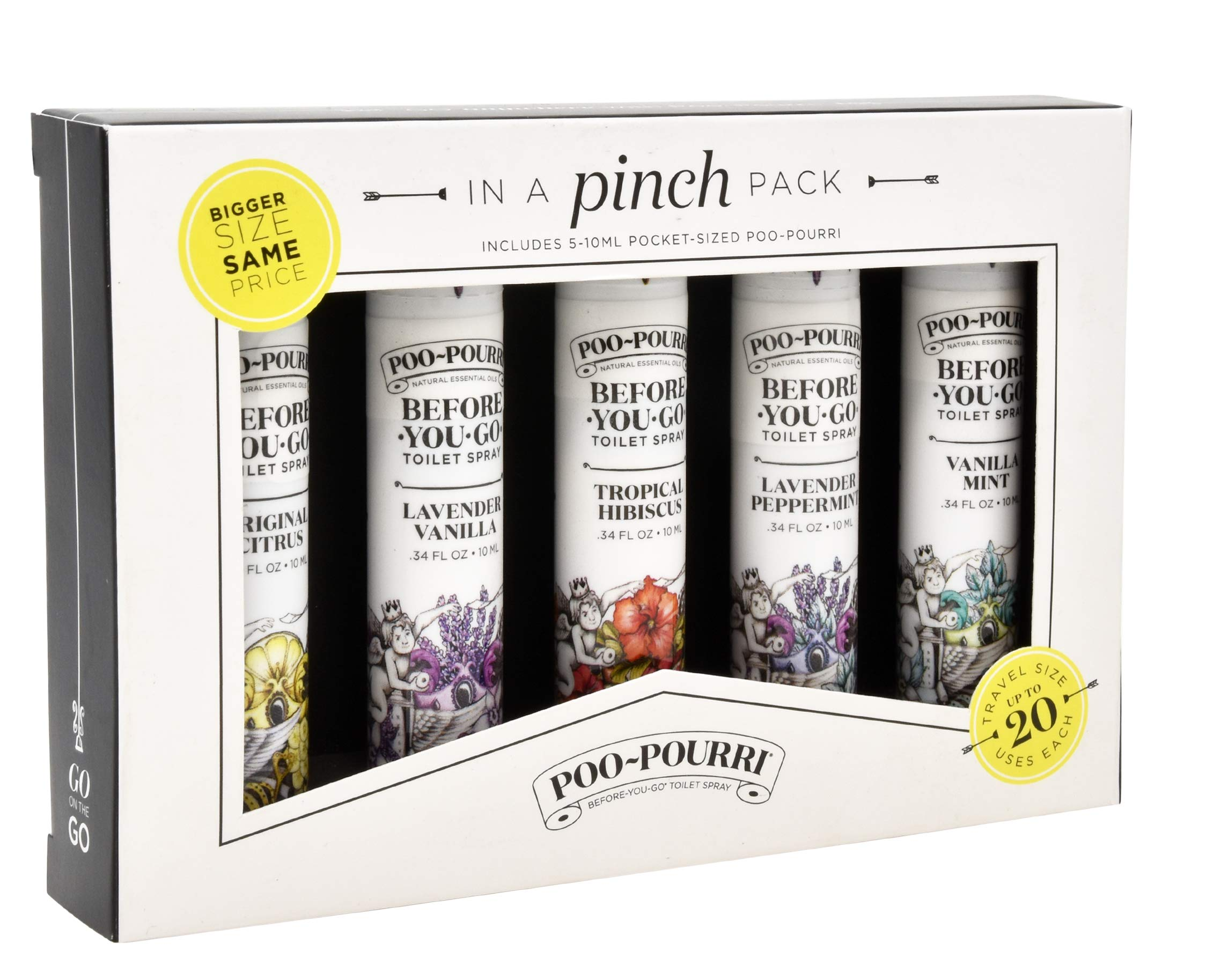 Poo-Pourri in A Pinch Pack Toilet Spray Gift Set, 5 Pack 10 mL, and 1.4 Ounce Ship Happens Bottle by Poo-Pourri (Image #2)