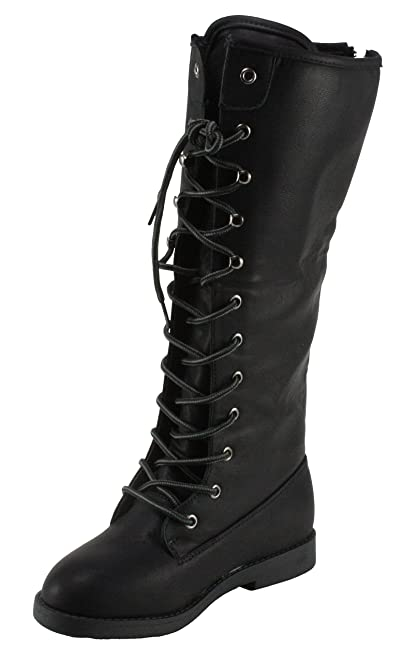 BellaMarie Women's Marcy-39 Lace-up Combat style Mid-calf Low Heel Boots