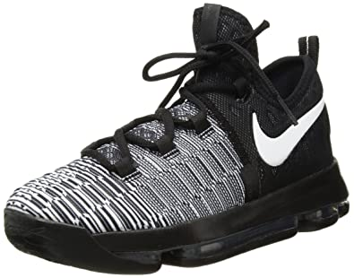 dc98c37f9330 NIKE Zoom KD9(GS) Big Kid s Basketball Shoes Black White 855908-010