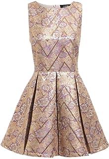 b5266d75892 Sheen Lili Gold Sequin Skater Dress in Burgundy  Amazon.co.uk  Clothing