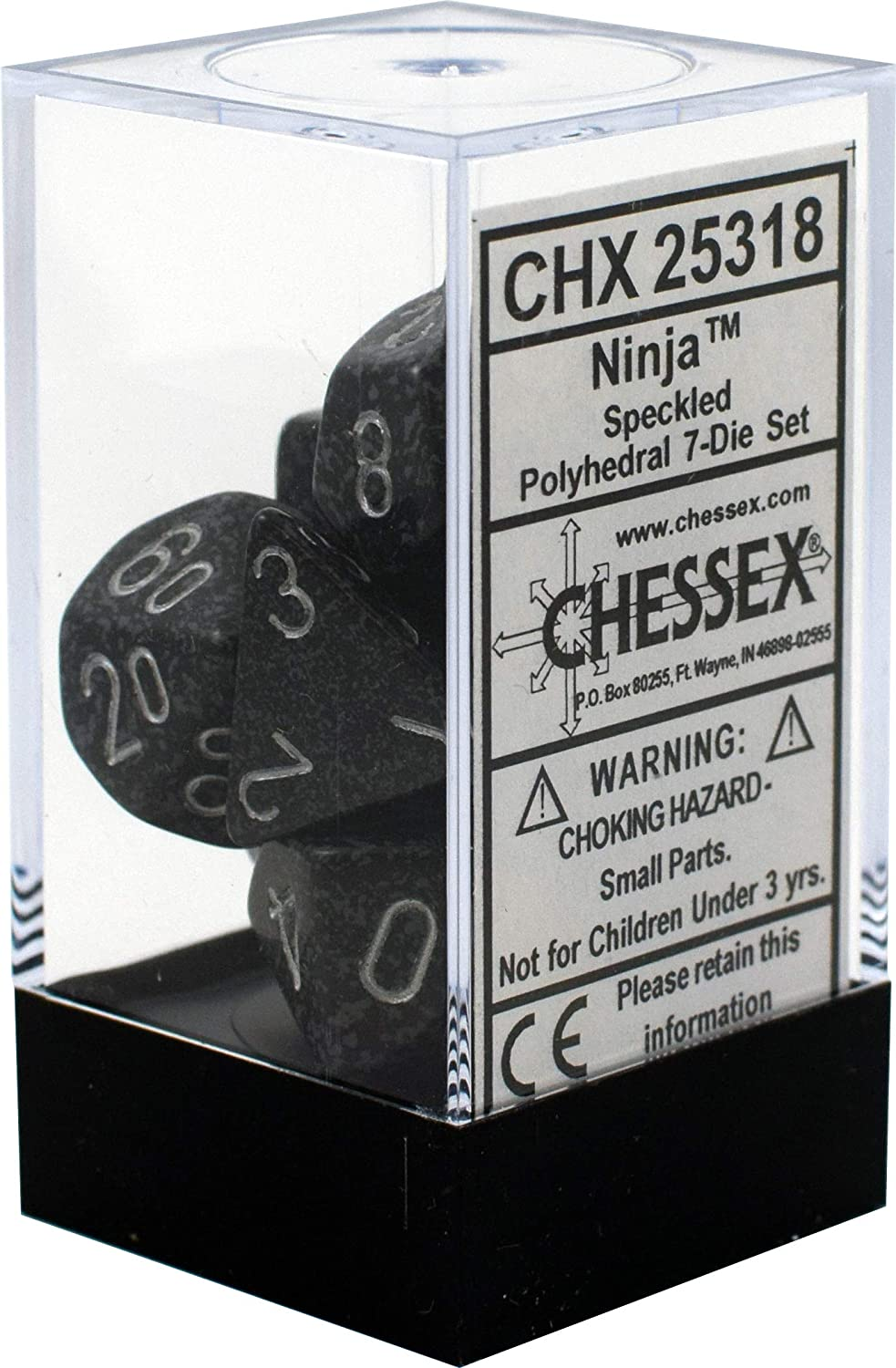Chessex CHX25318 Dice-Speckled Ninja Set